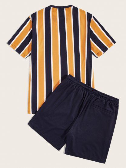 Men Colorful Striped Top & Shorts Set