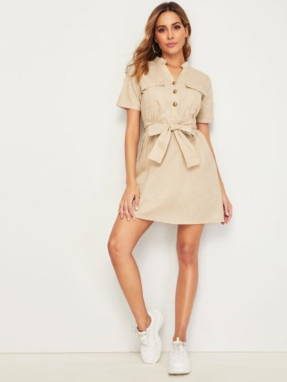 Metal Button Self Tie Pocket Dress
