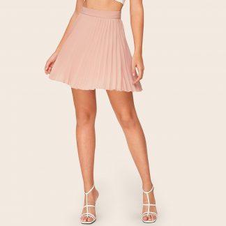 Wide Band Waist Pleated Skirt