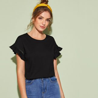 Lace Trim Flounce Sleeve Solid Tee