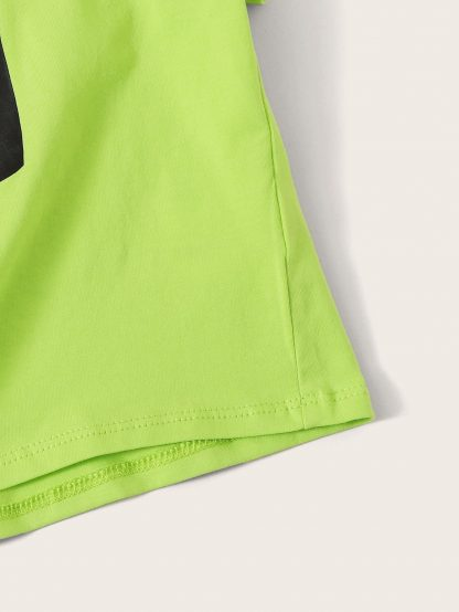 Girls Neon Lime Letter Print Rolled Cuff Knotted Tee