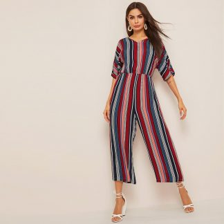 V-neck Wide Leg Striped Palazzo Jumpsuit