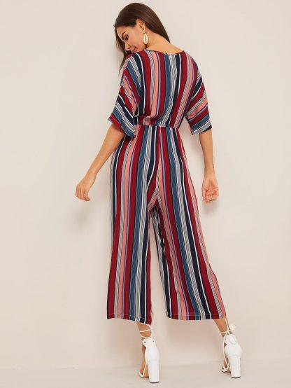 V-neck Wide Leg Striped Palazzo Jumpsuit