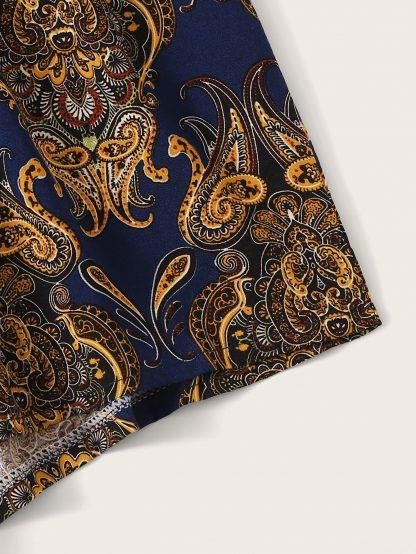 Tribal Paisley Print Tie Back Halter Top & Shorts