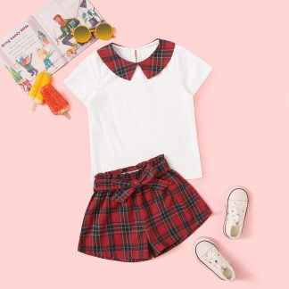 Toddler Girls Contrast Peter-pan-collar Top & Tartan Shorts Set