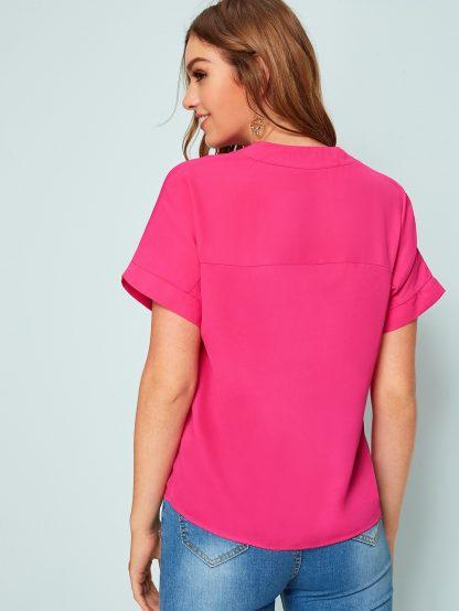 Neon Pink V Neck Top