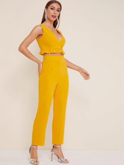 Ruffle Hem Solid Crop Top & Pants
