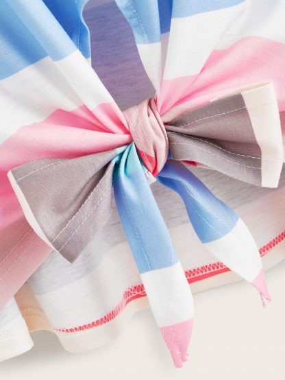 Plus Rainbow Striped Tie Front Tee