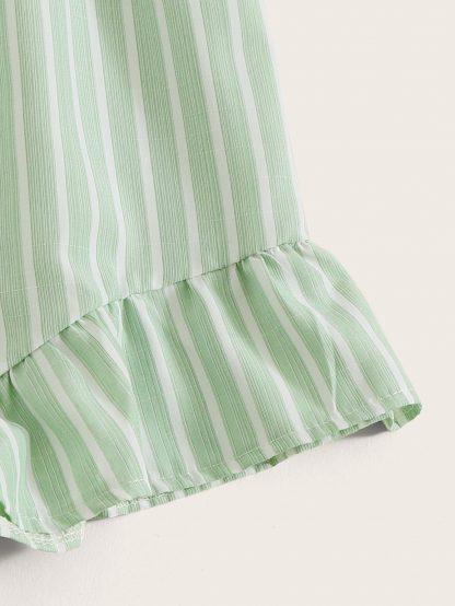 Striped Ruffle Hem Belted Romper