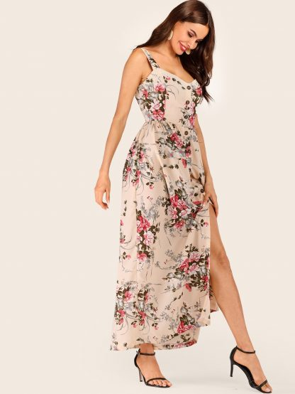 Floral Print Button Front Cami Dress