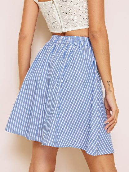 Elastic Waist Striped Button Front Skirt