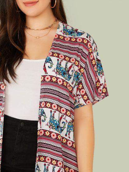Plus Tribal Print Guipure Lace Hem Kimono