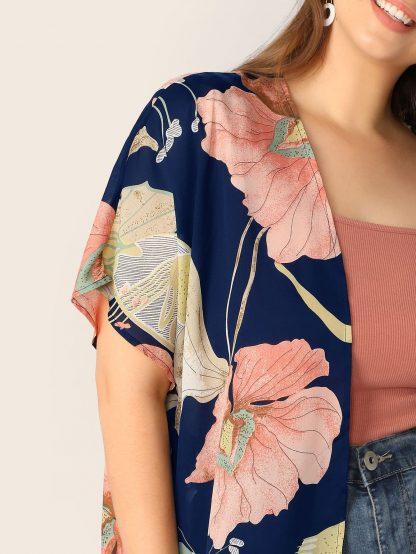 Plus Open Front Floral Print Kimono