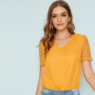 Solid Embroidered Mesh Sleeve Top