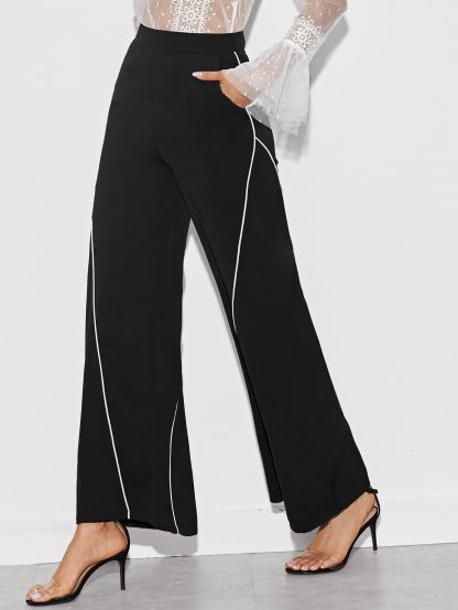 Contrast Piping Wide Leg Pants