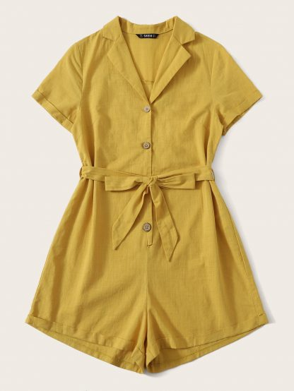 Notch Collar Button Front Belted Cuffed Romper