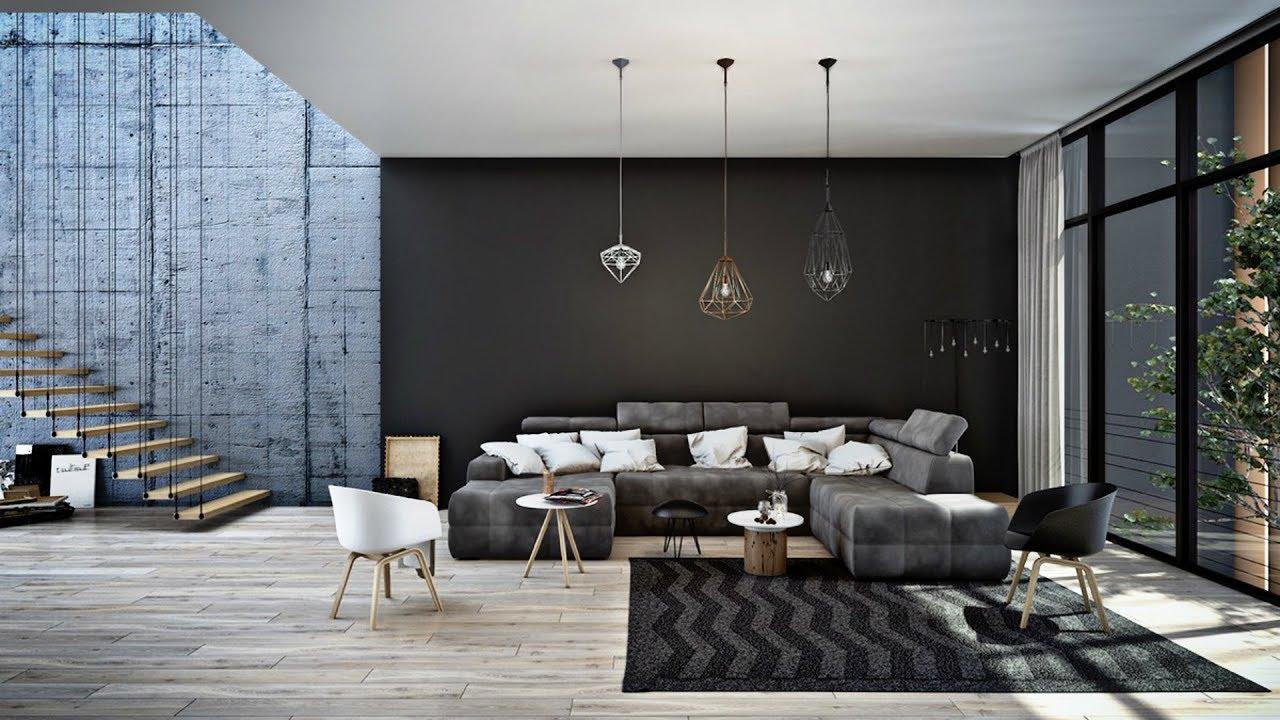 Industriell accentvägg i modernt bostadsutrymme