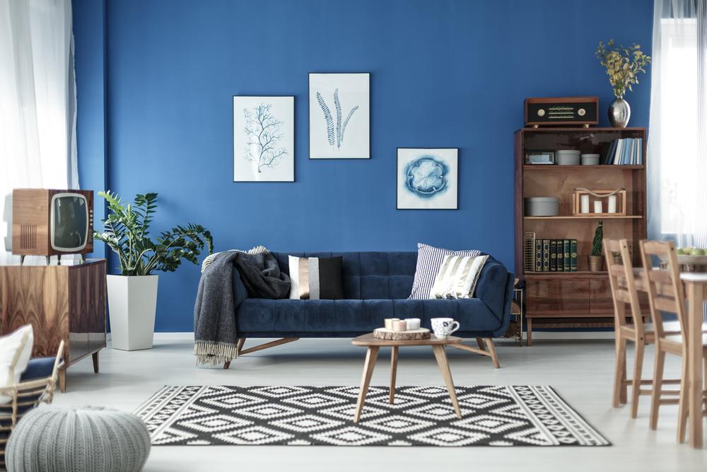Vintage blå vardagsrum