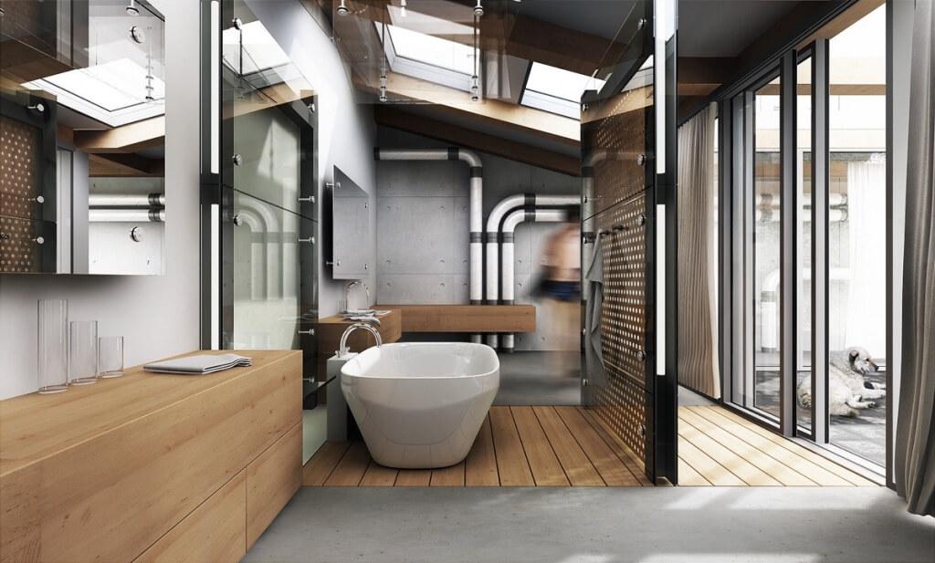 Kreativt steampunk badrum