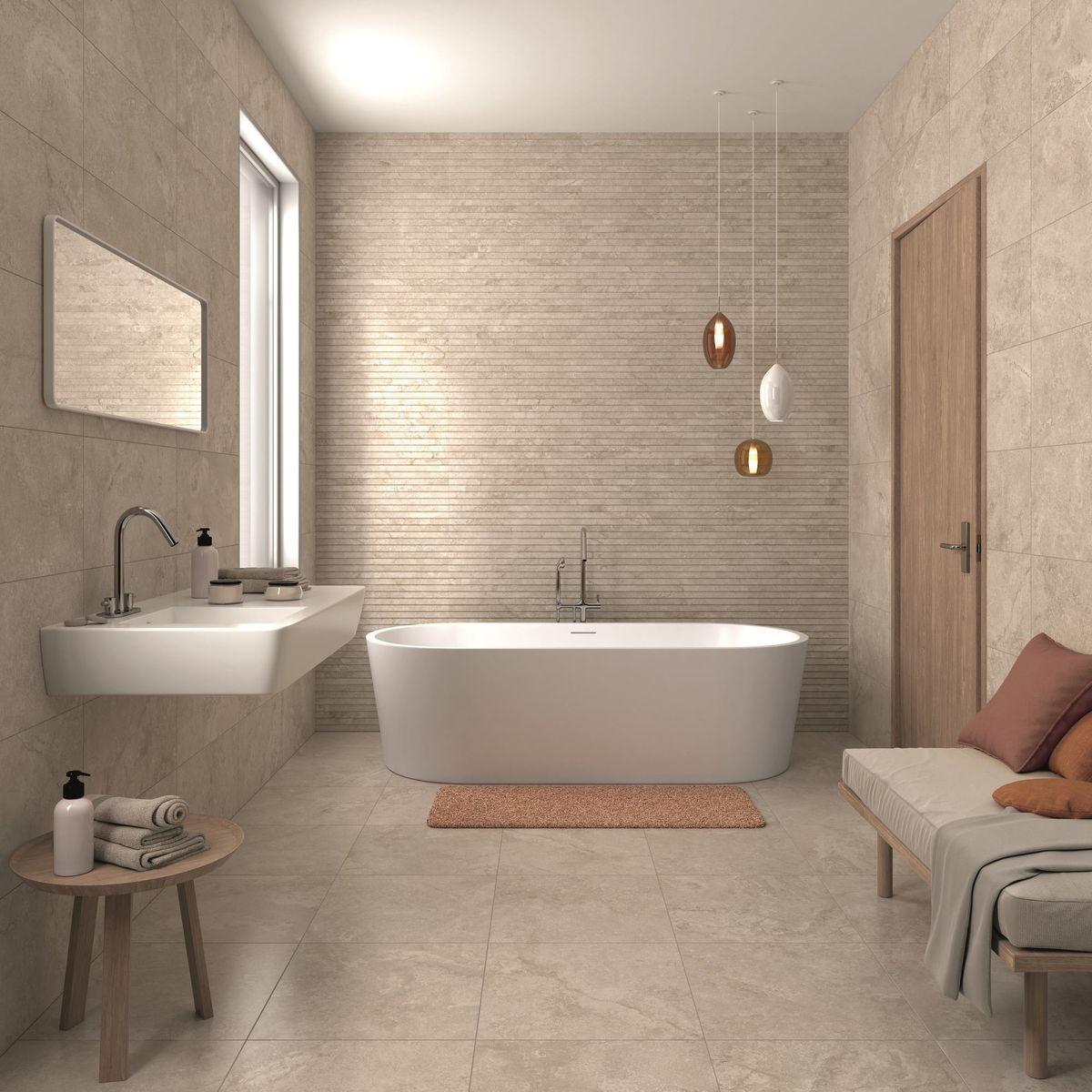 Avkopplande beige badrum