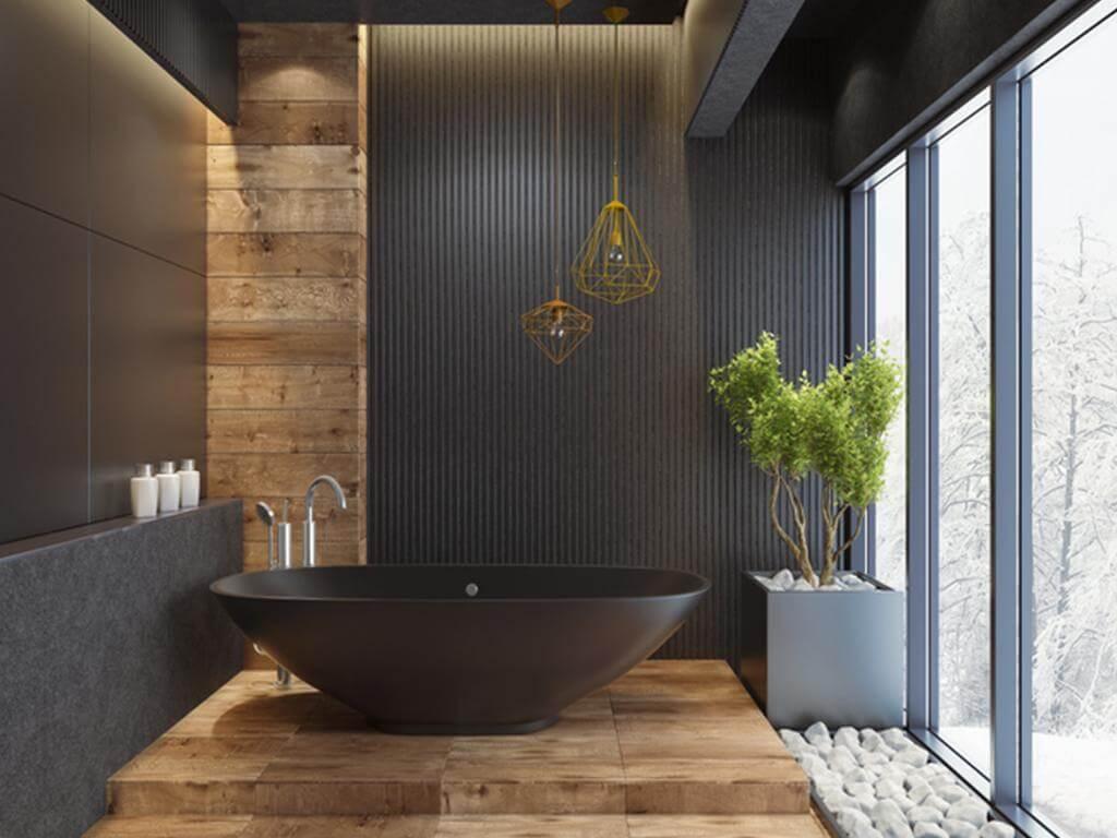 Mörkt elegant badrum