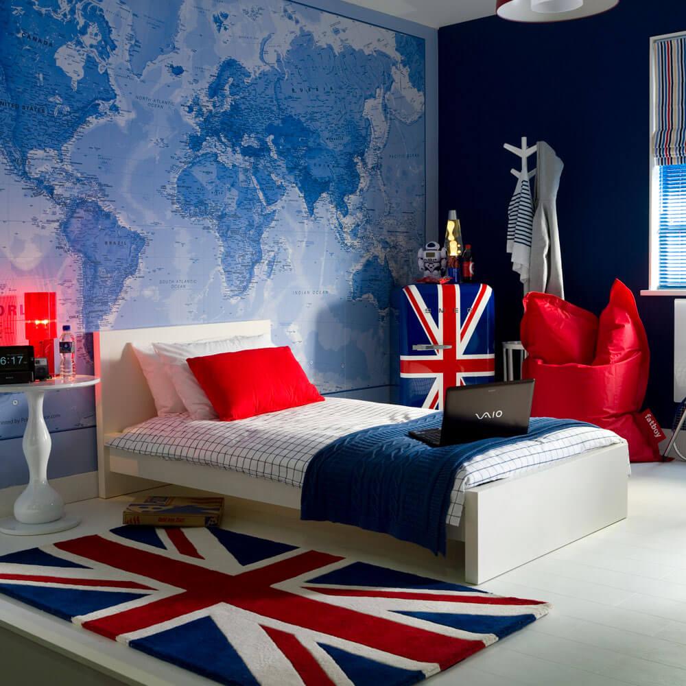 Brittiskt inspirerat modernt sovrum