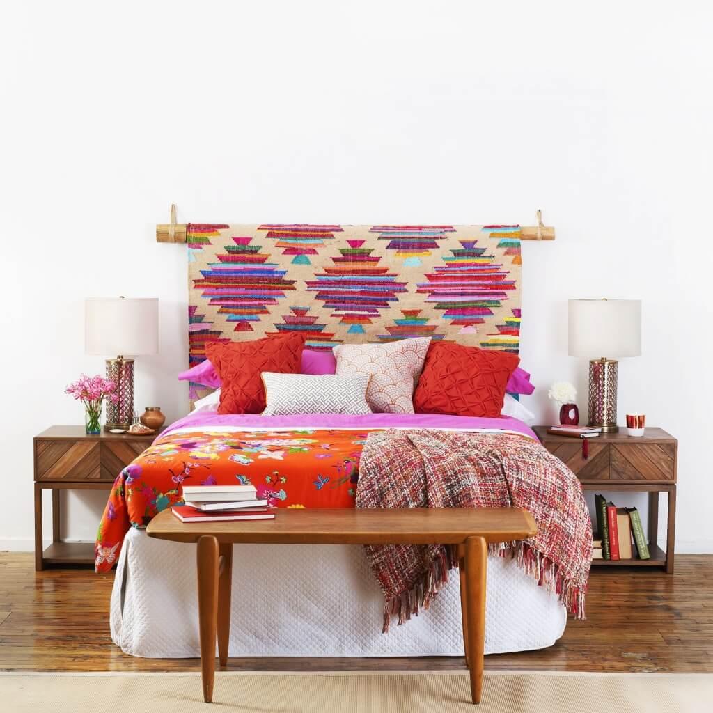 Djärvt färgglatt sovrum