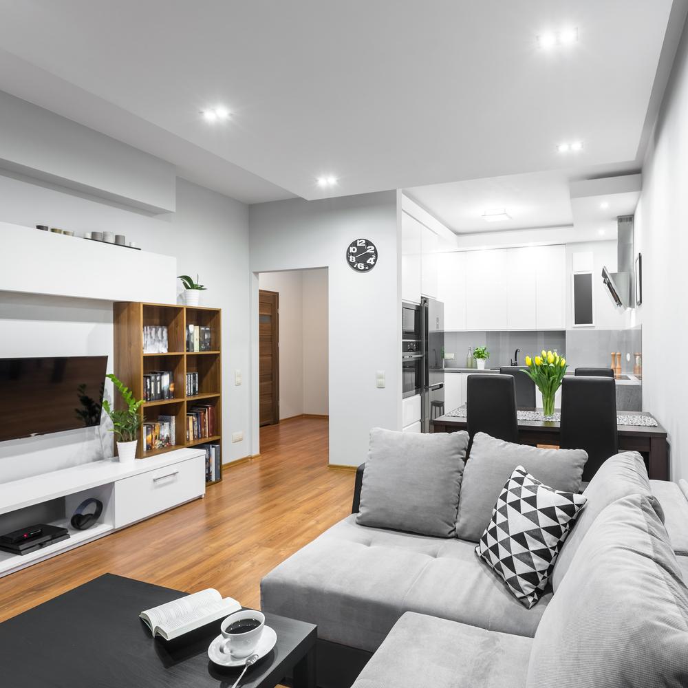 Enkel bokhyllmodell i modern lägenhet