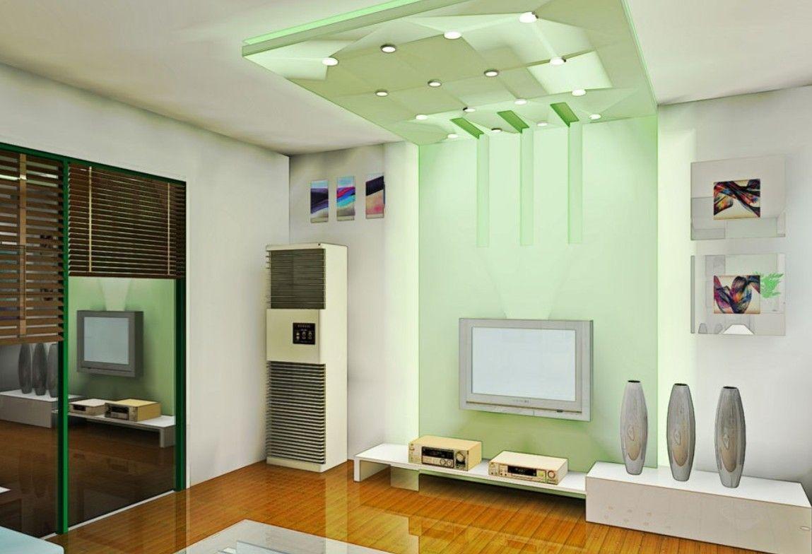 Vardagsrum med grönt tak.  Källa: Pinterest
