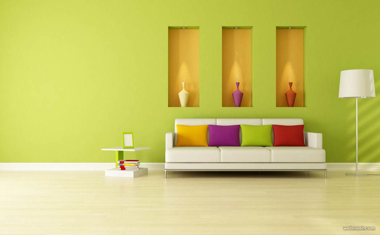 Vardagsrum med gröna väggar.  Källa: webneel.com