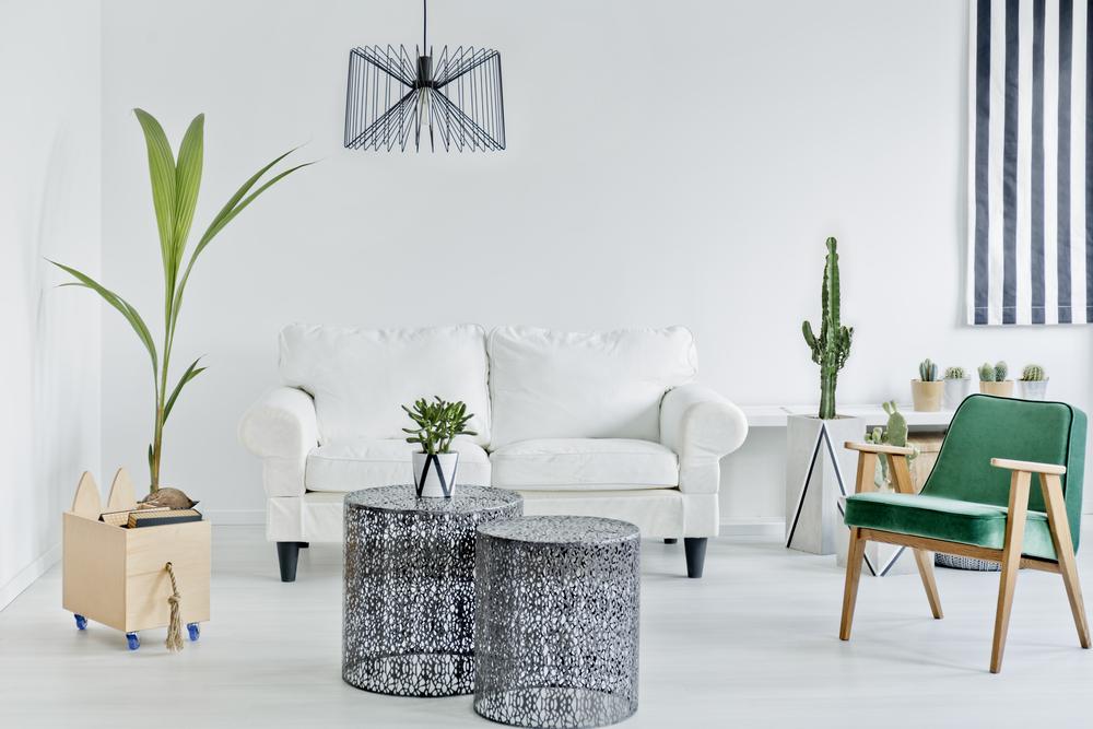 Grönt vardagsrum med växter