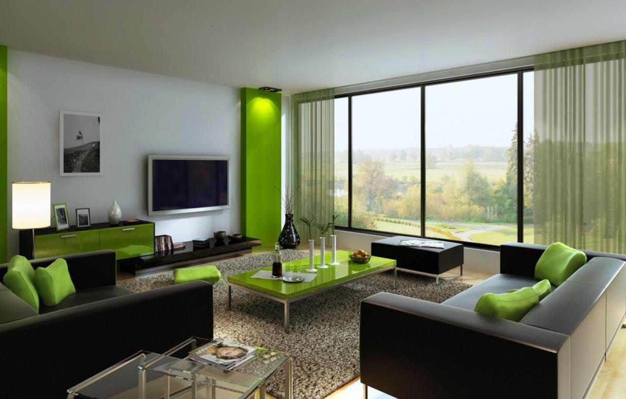 Vardagsrum med grönt bord.  Källa: blueridgeapartments.com