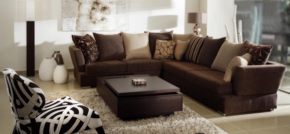 Brunt vardagsrum med en djärv soffuppsättning