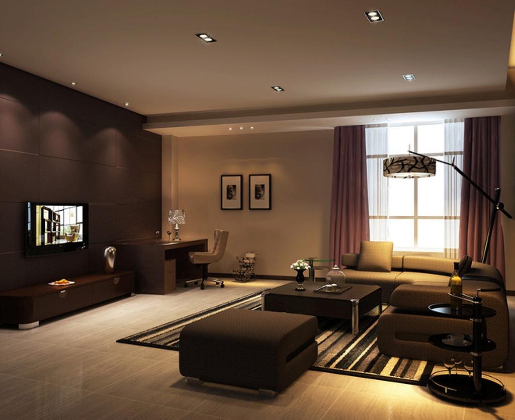 Mörkbrunt vardagsrum.  Källa: kalvez.com