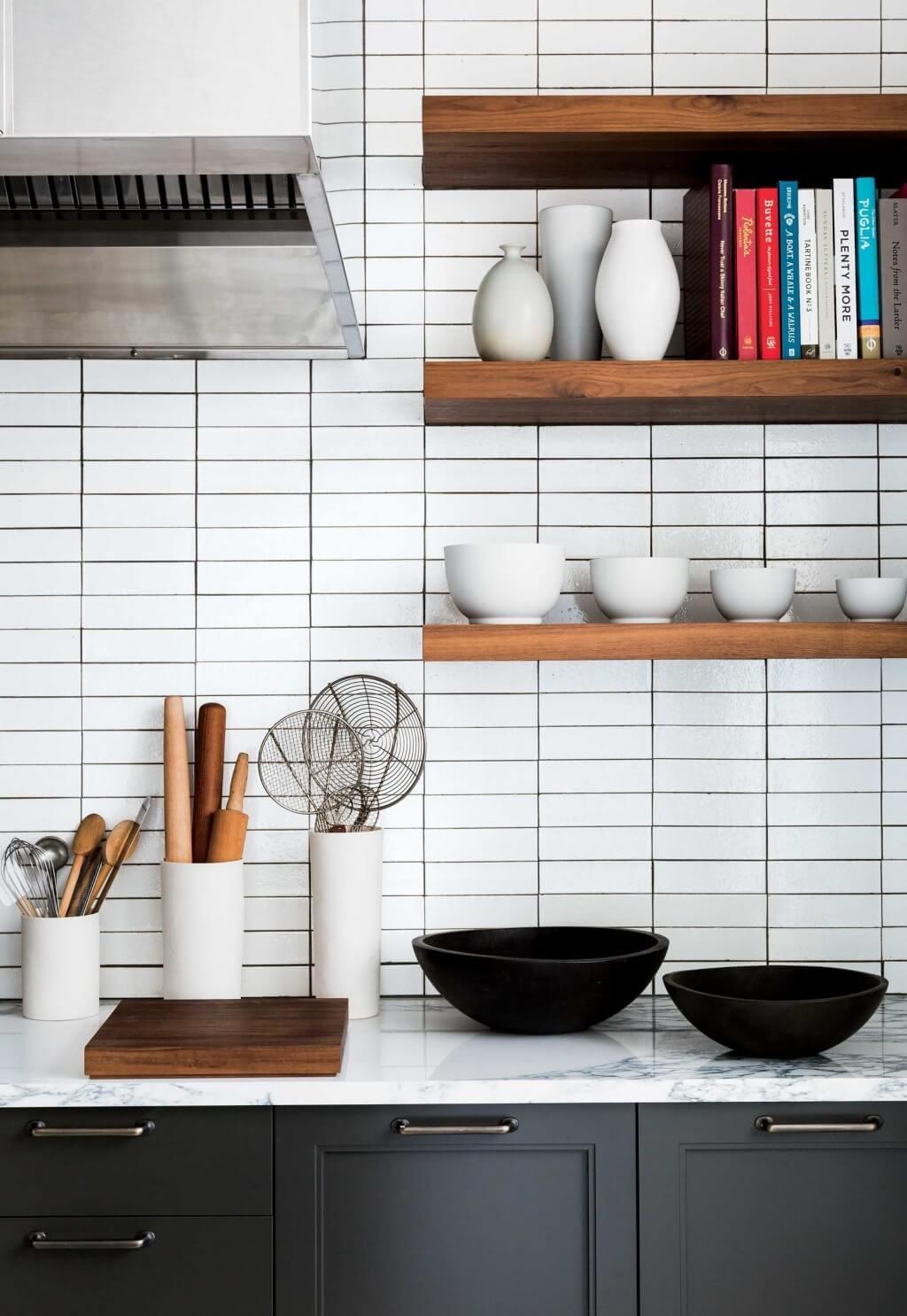 Svart och vitt badrumsplattor kök backsplash