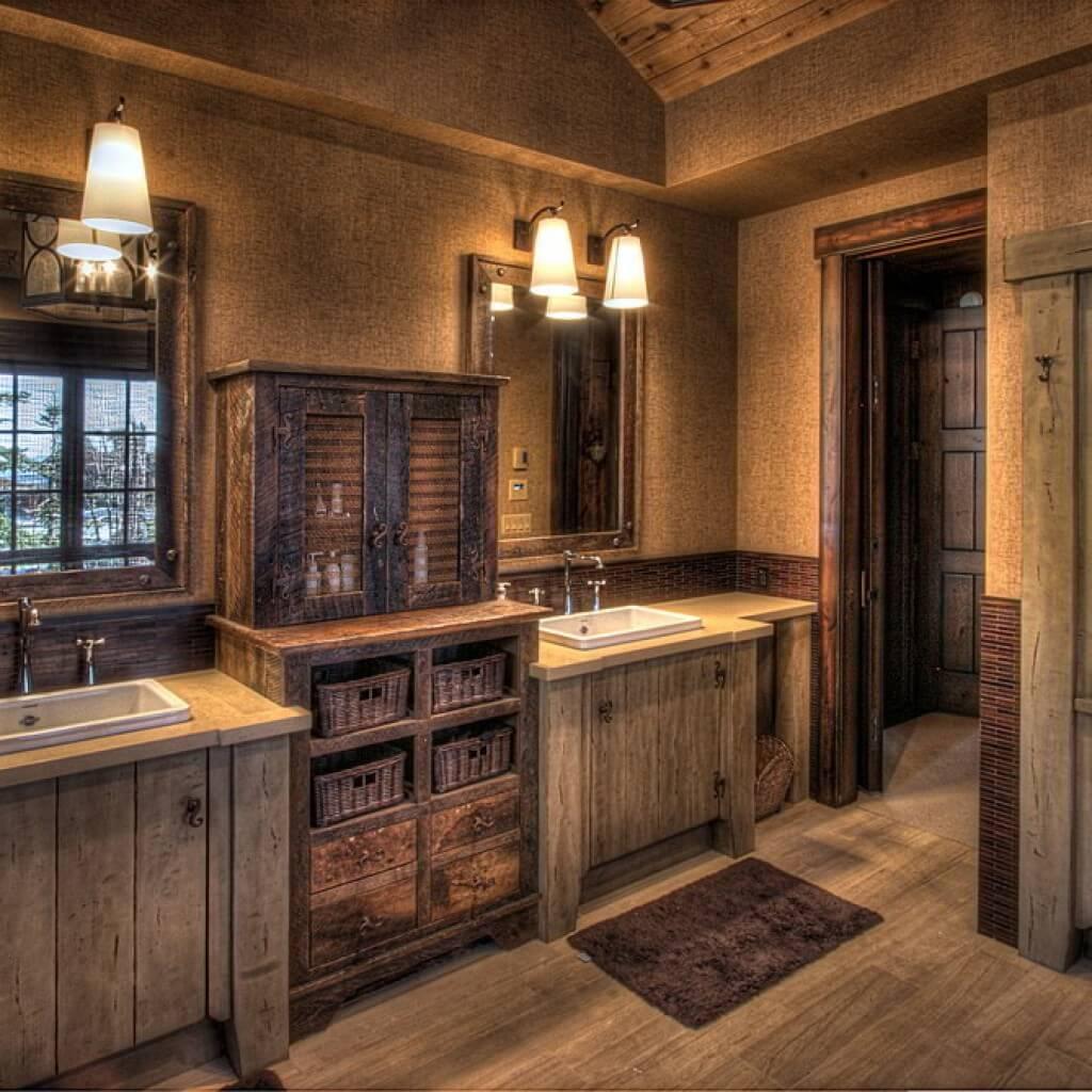 Rustikt primitivt badrum