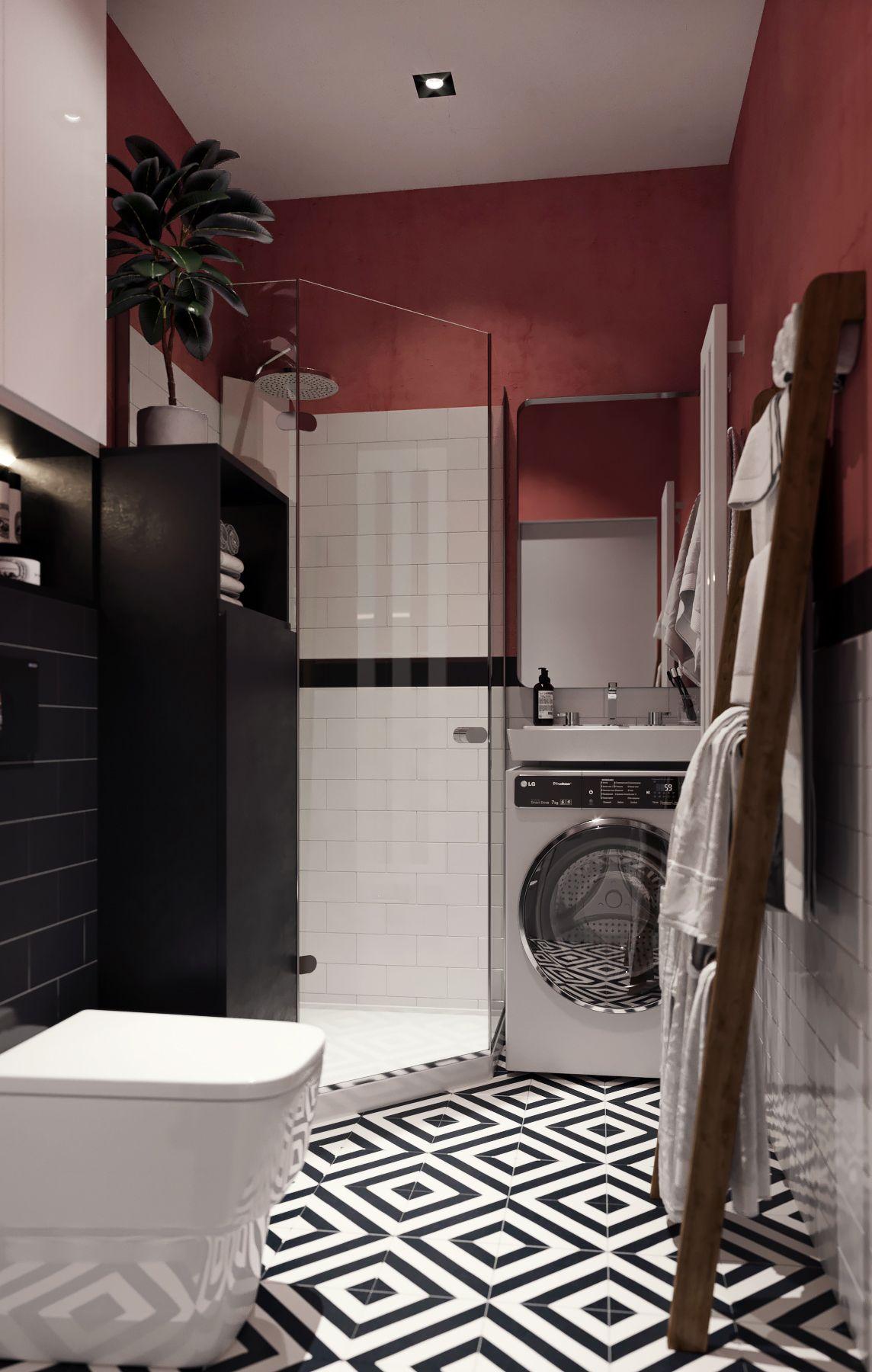 Smart burgundfärgat badrum