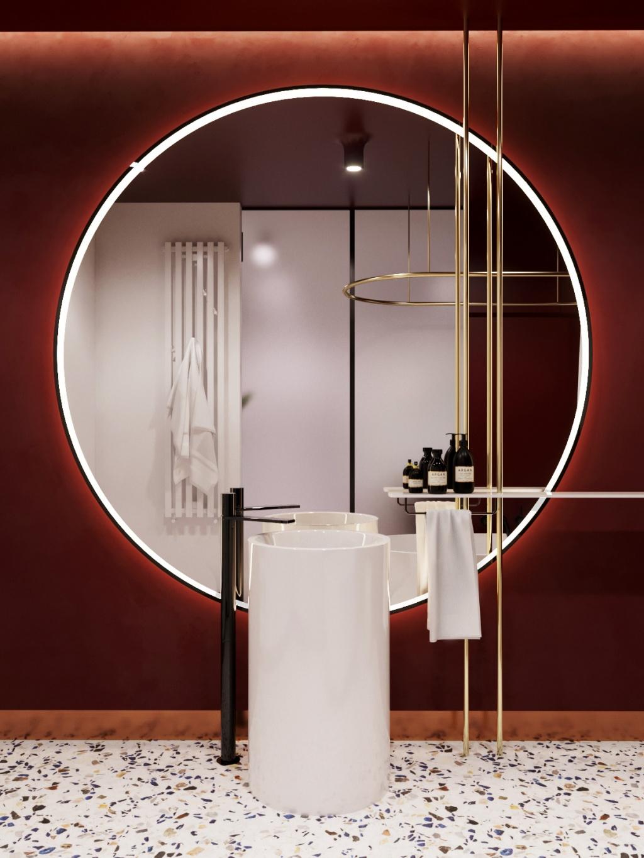Inspirerande burgundiskt badrum