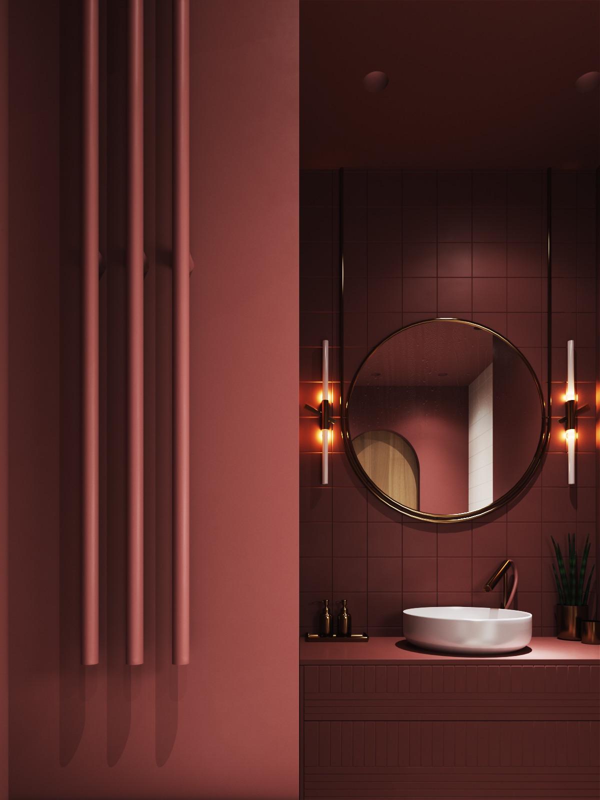 Utmärkt vinrött färgat badrum