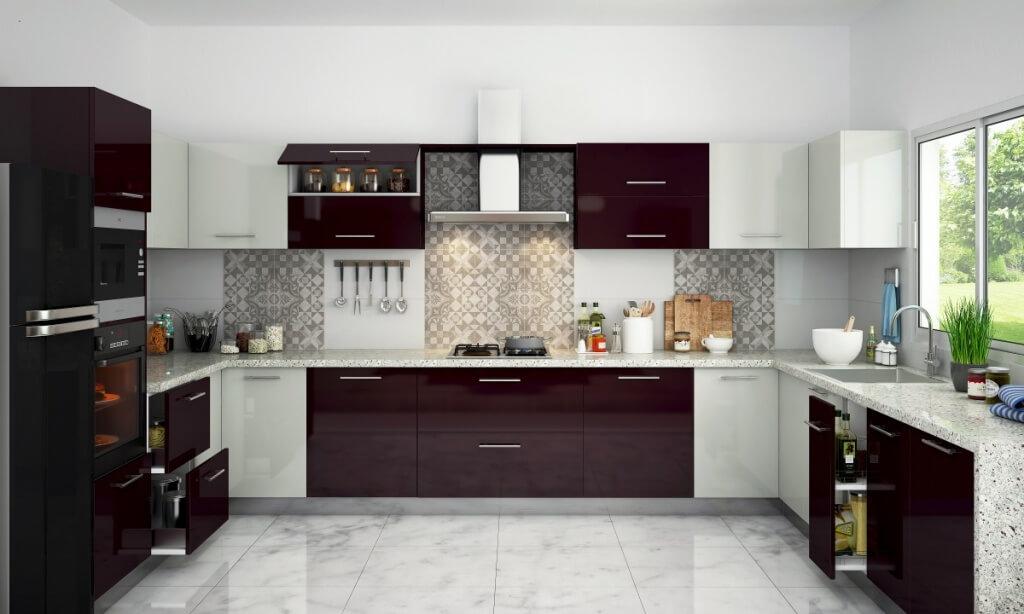 Elegant tvåfärgat köksskåp