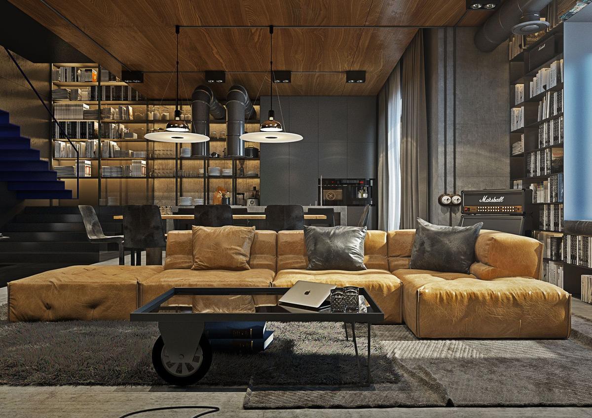 Multifunktionell, stor hylla i det maskulina vardagsrummet