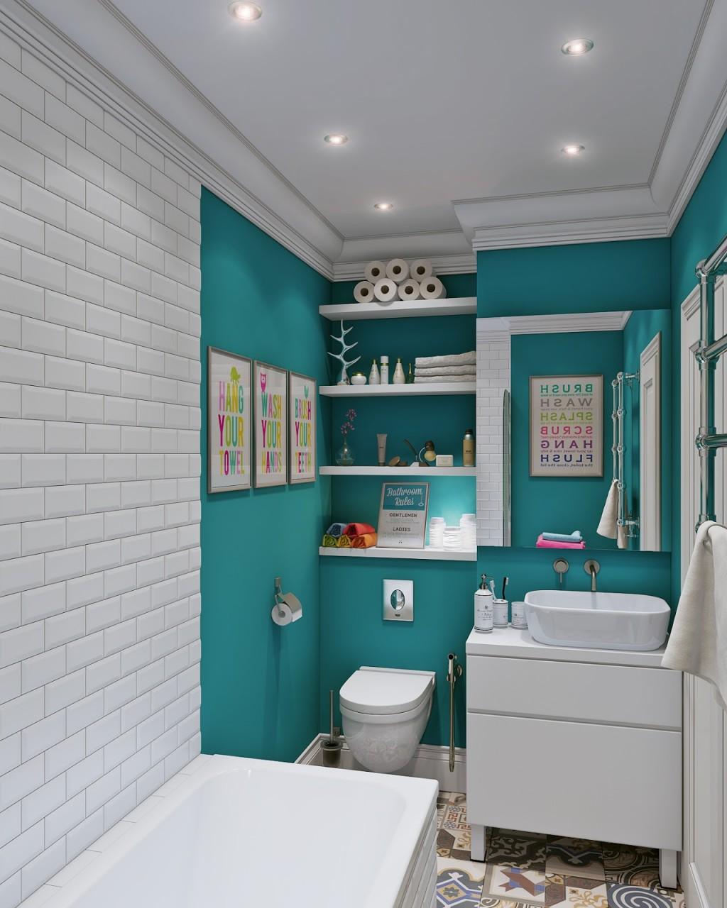 Bedårande blått och vitt badrum