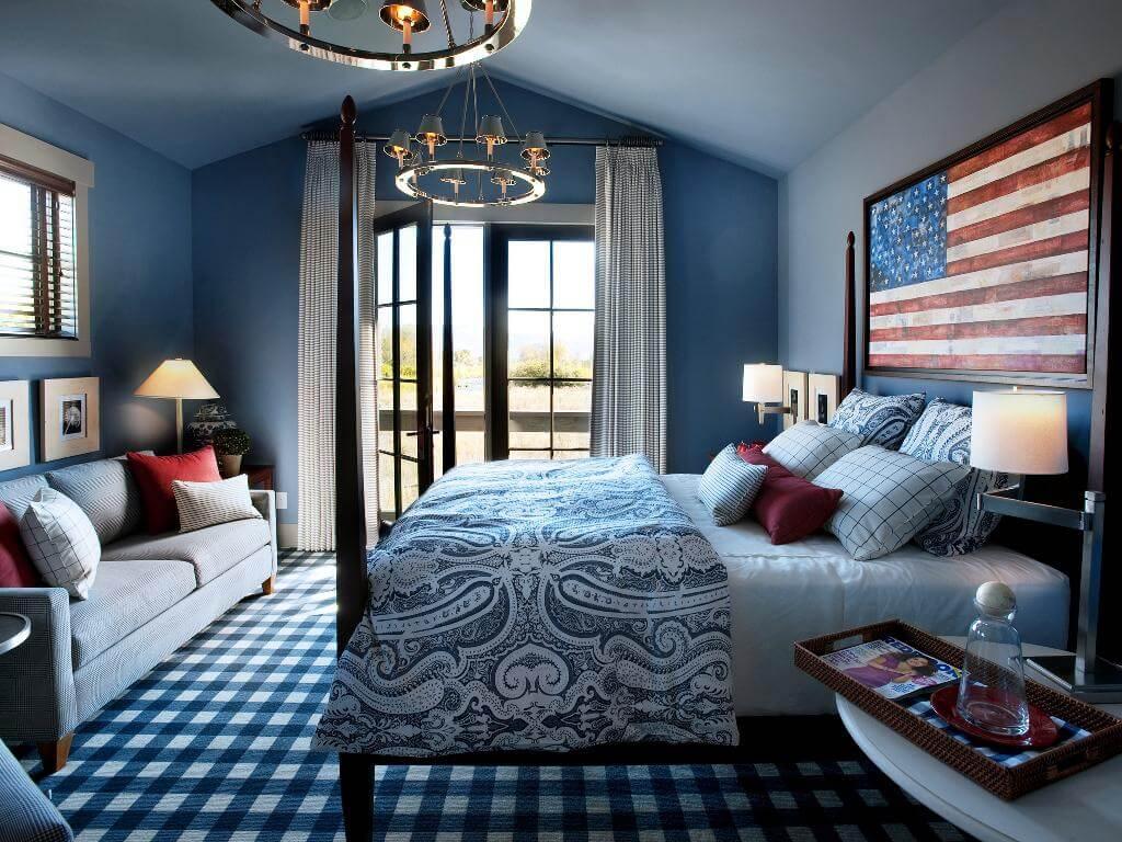 Rika blå sovrum