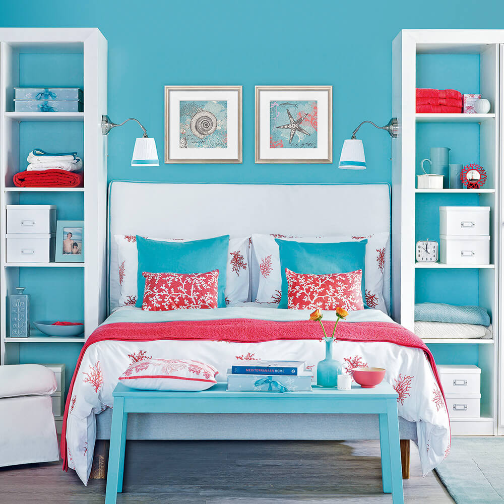 Lyckligt blått sovrum