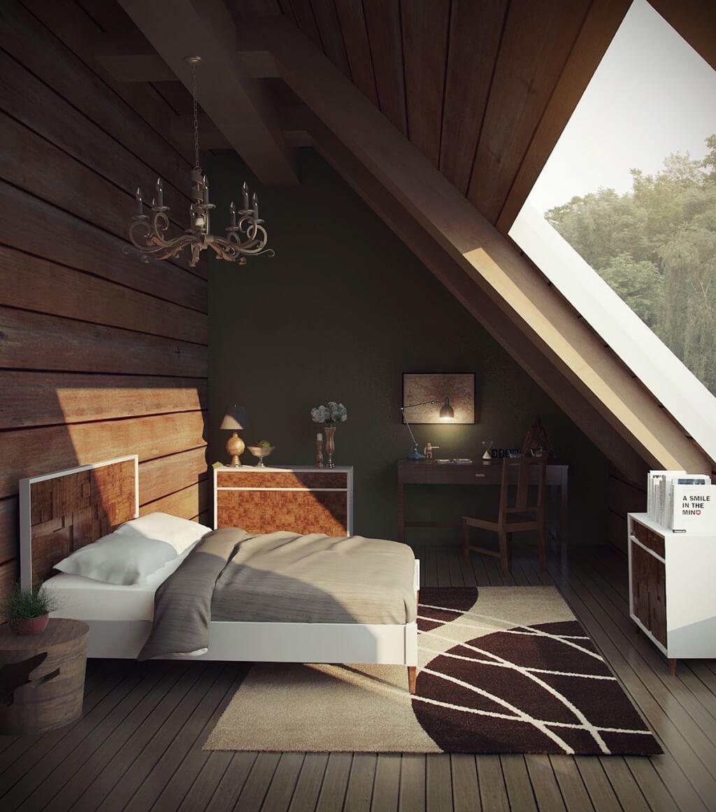 Fantastiskt sovrum på översta våningen