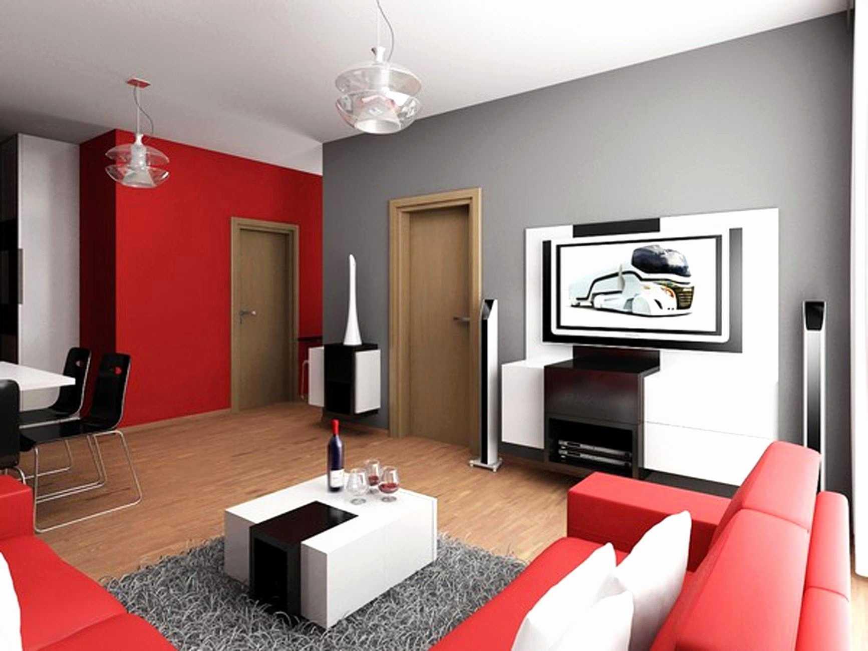 Minimalistisk röd sektions soffa vardagsrum stil