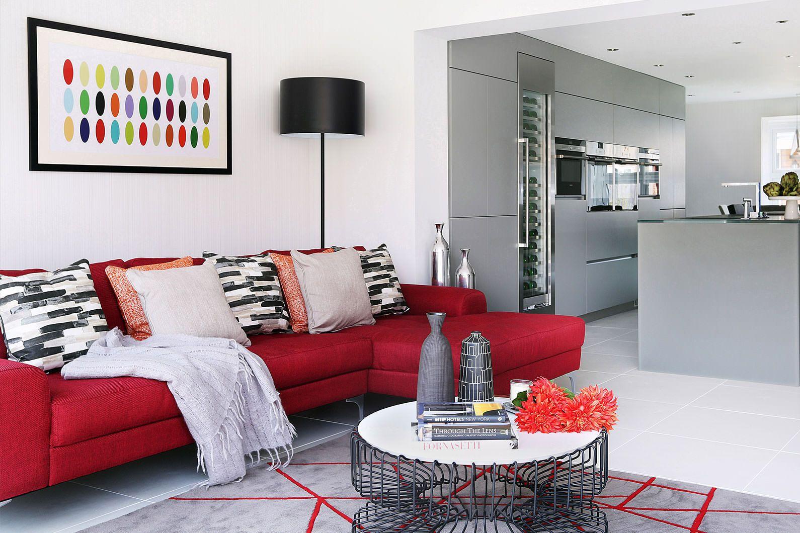 Bekväm röd soffa vardagsrumsmodell