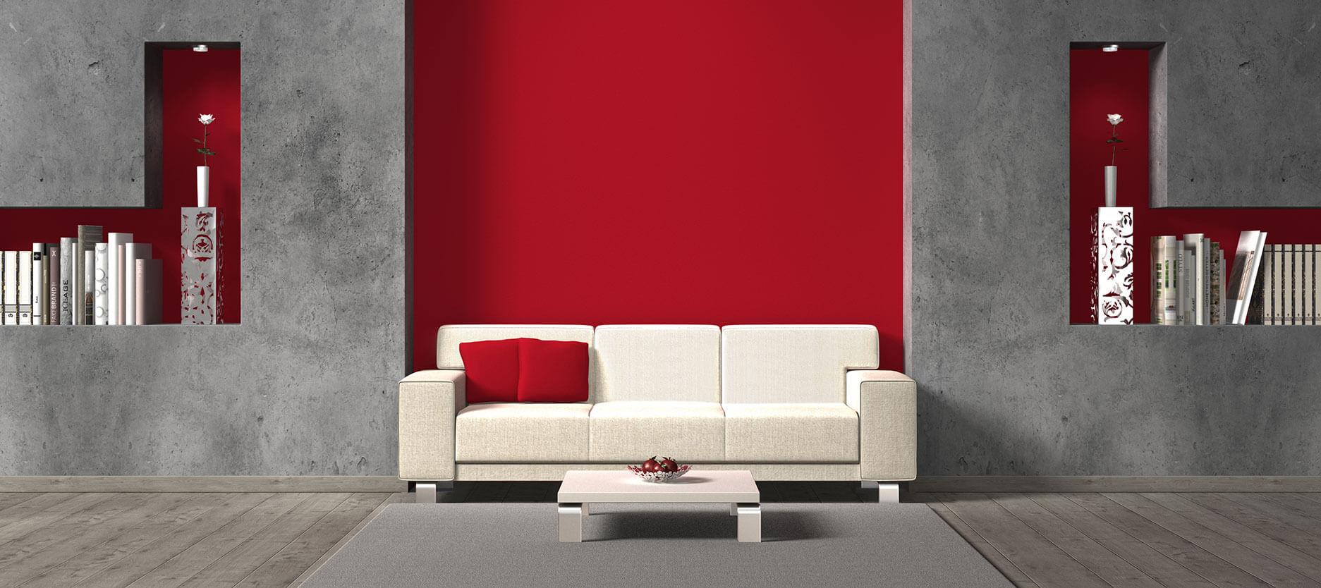 Quirky rött och grått vardagsrum