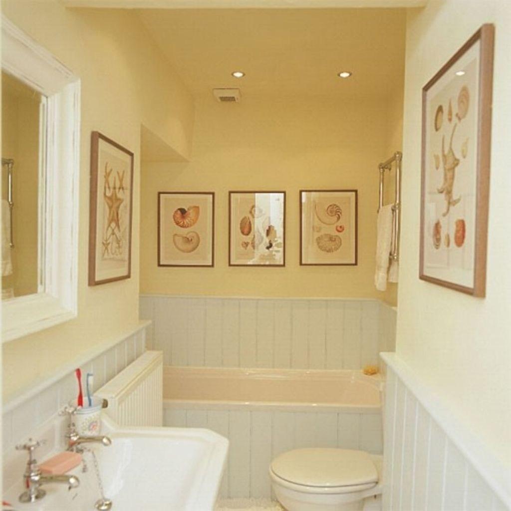 Mjukt gult badrum