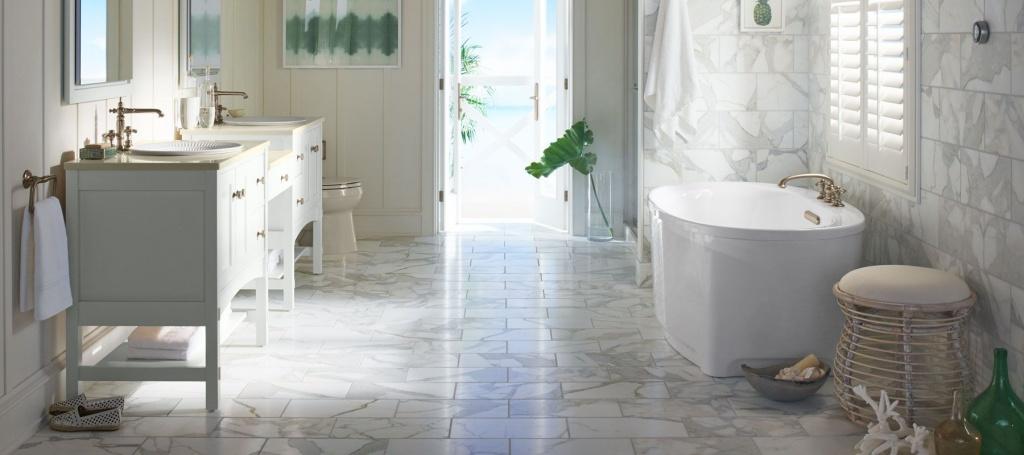 Klart badrum i marmor